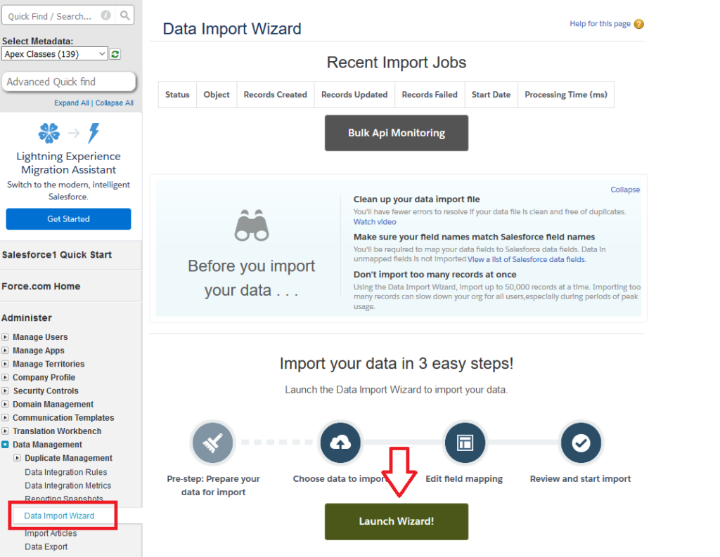 Data import wizard launch