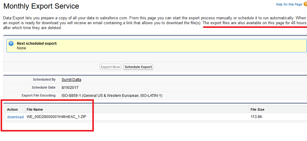 data export exported file